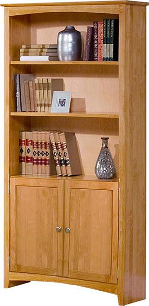 Alder Shaker Bookcase With Doors Natural Unfinished
