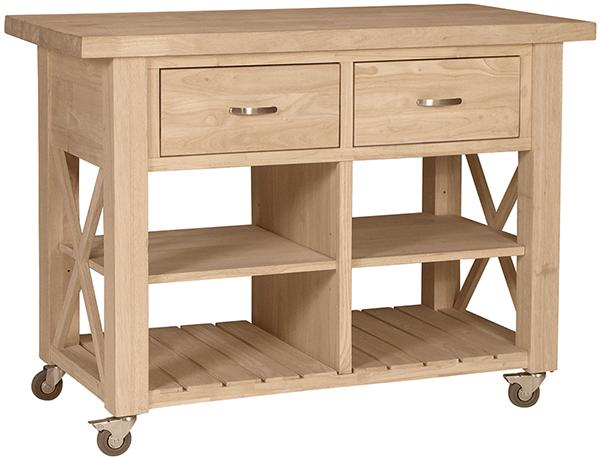 Parawood X Side Kitchen Island | Natural Unfinished Furniture
